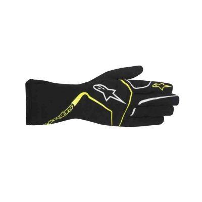 Alpinestars Tech 1-K Race kinderhandschoen voor karting zwart fluo geel
