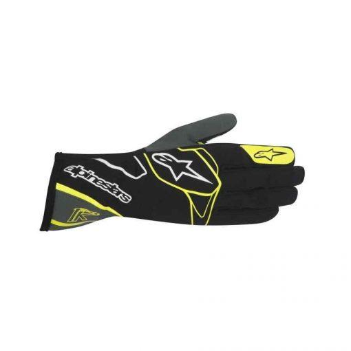 Alpinestars Tech 1 k handschoen karting zwart anthraciet fluo geel