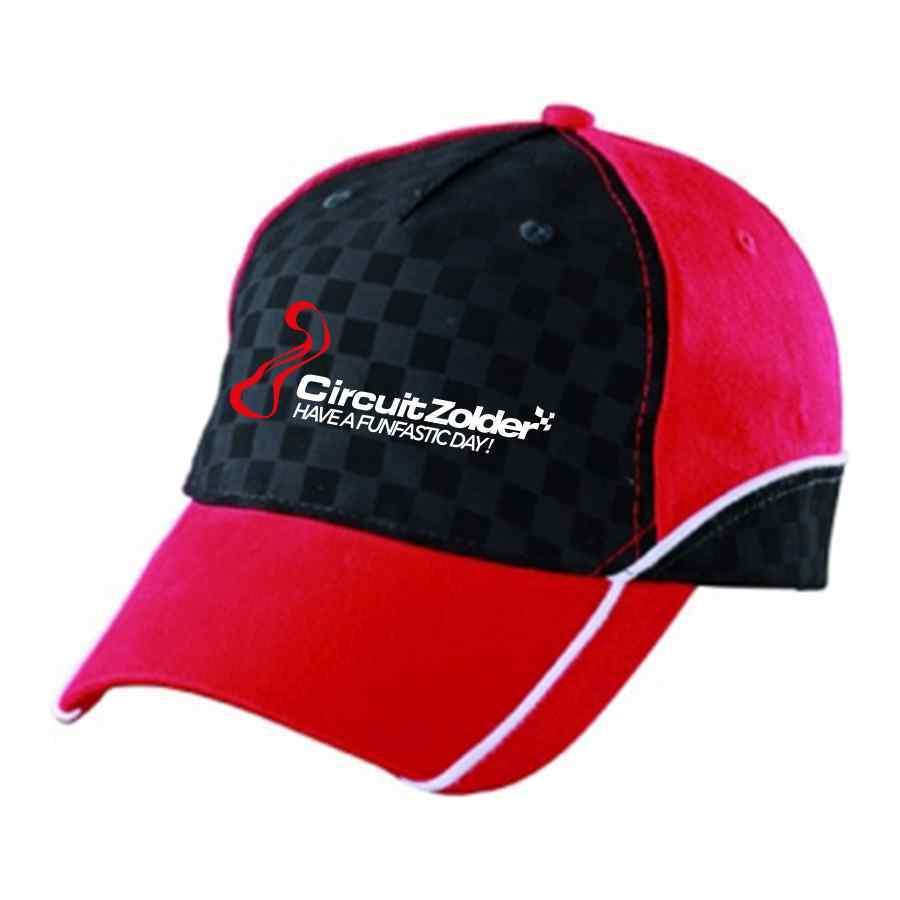 Pet Circuit Zolder rood met zwart patroon van finish vlag