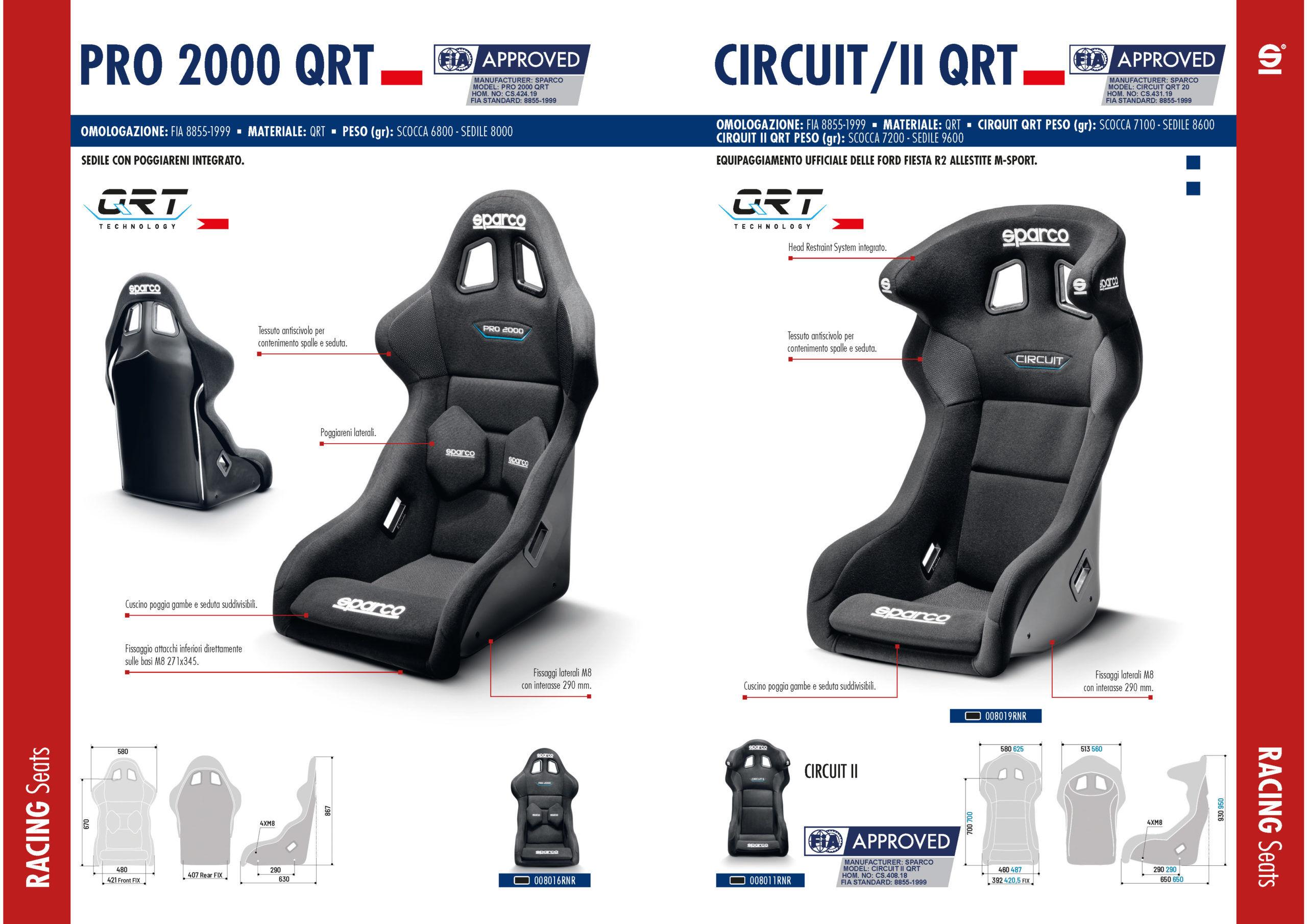 Sparco Pro 2000 QRT - kuipstoel is een van de meest gekozen stoelen in de autosport. Gehomologeerd volgens de FIA-norm FIA 8855-1999.