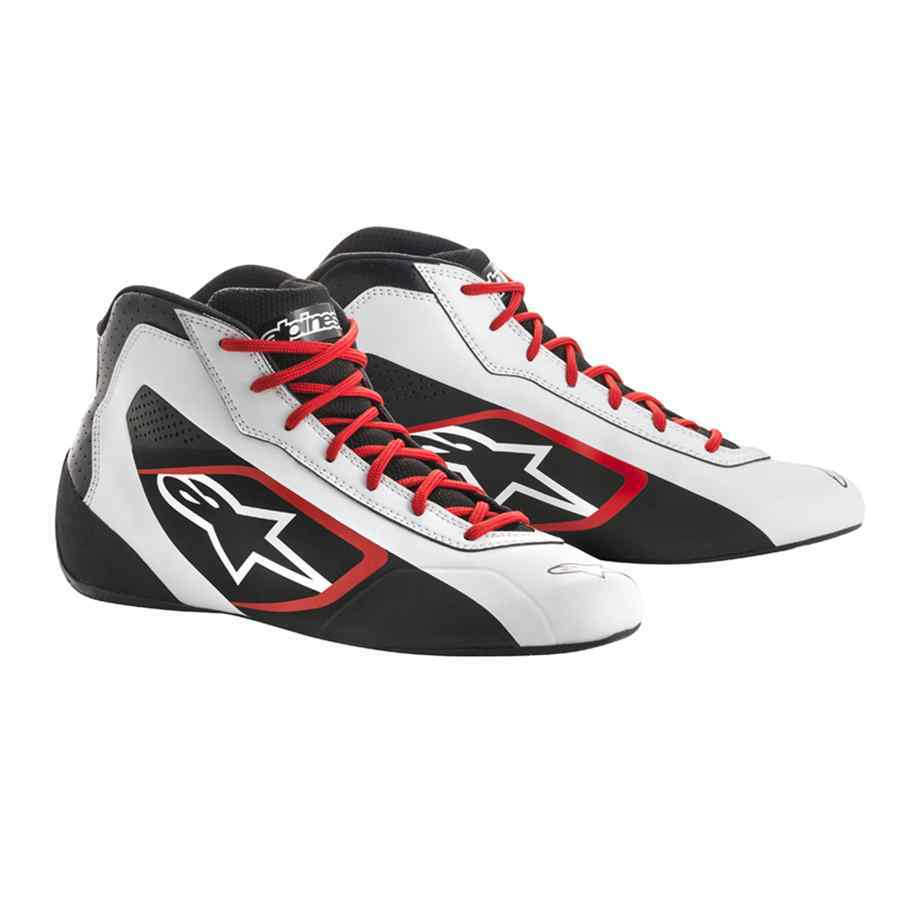 Alpinestars tech 1 K start schoenen voor kartsport wit zwart rood
