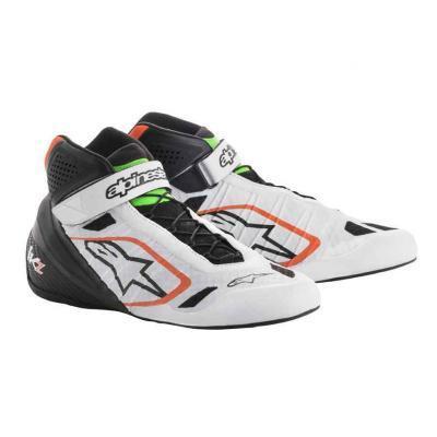 Alpinestars Tech 1KZ schoen voor kartsport wit zwart fluo oranje en groen