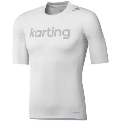 Adidas techfit base SS compressie T-shirt voor karting wit