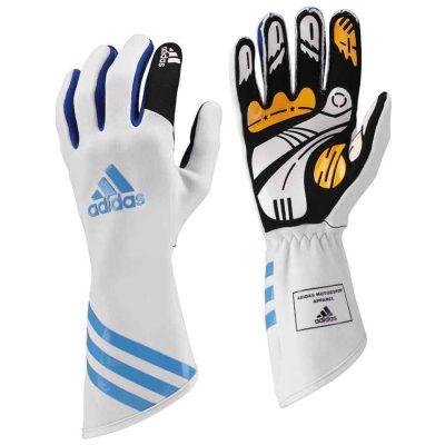 Adidas Kart XLT handschoenen wit cyaan blauw voor karting