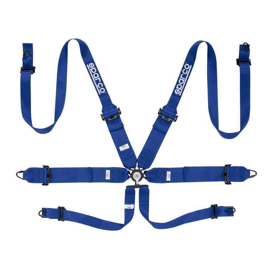 Sparco 6-Punts gordel - Kleur blauw - HANS compatibel