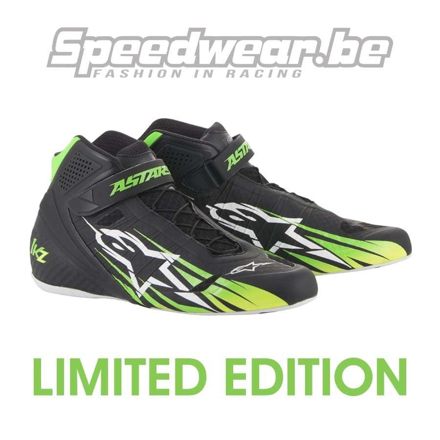 Alpinestars kartschoen limited edition Tech 1 KZ zwart fluo geel fluo groen