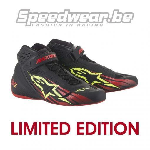 Alpinestars limited edition schoenen karting Tech 1 KZ zwart rood fluo geel