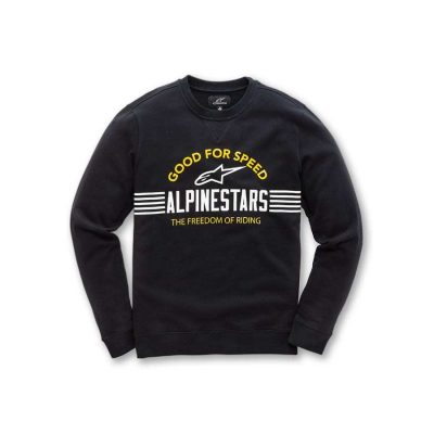 Alpinestars Bars Fleece Zwart - Trendy herensweater crew neck