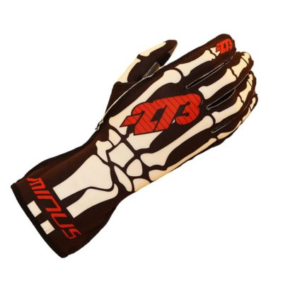 Minus 273 Karting Gloves Skelet Zwart Wit Rood - Supergrip