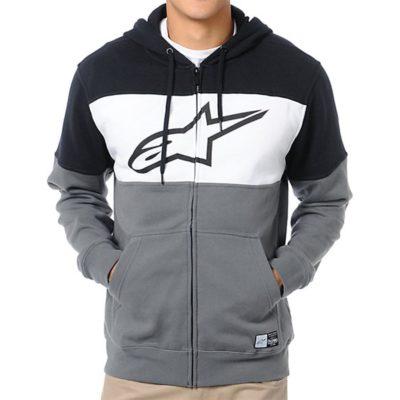 Alpinestars Champ Fleece - Herensweater zwart grijs wit met zip