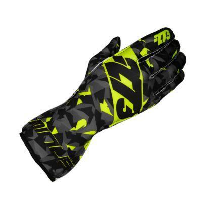 Minus273 Camo Kartsporthandschoen - Zwart Grijs Fluorescerend geel