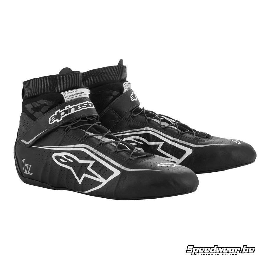 Alpinestars Tech 1Z V2 schoen voor autoracing - Zwart Wit Zilver