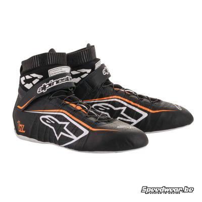 Alpinestars Tech 1Z V2 schoen voor autosport - Zwart Wit Fluo oranje