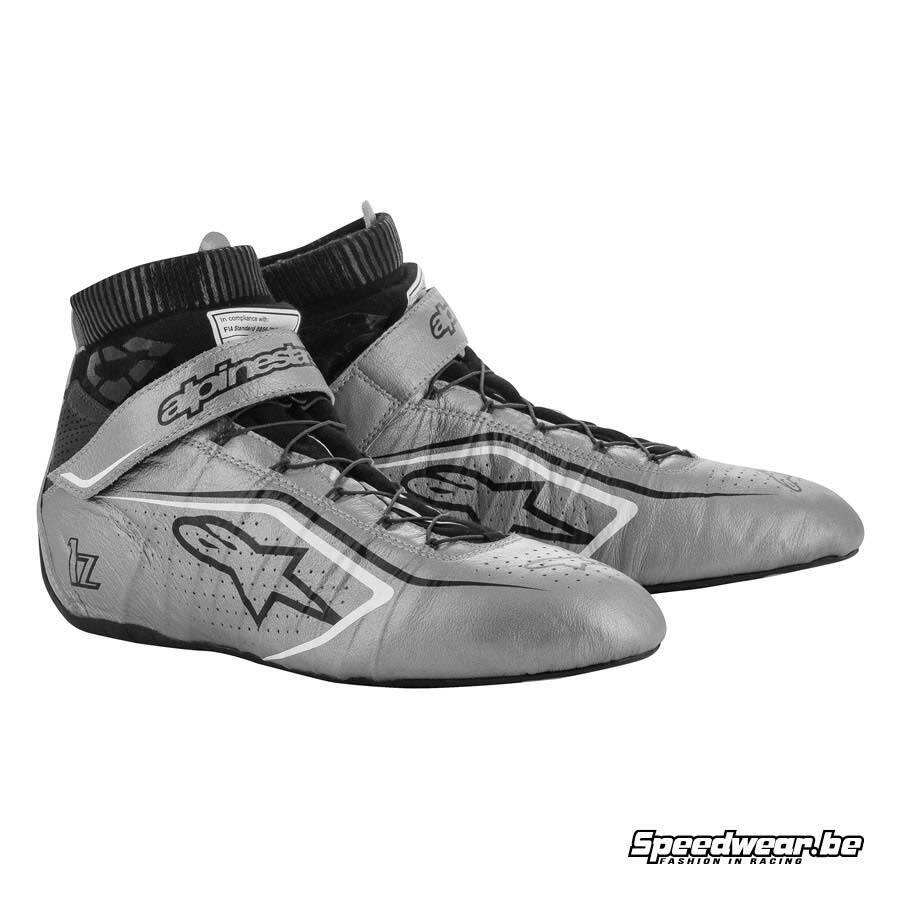 Alpinestars Tech 1Z V2 raceschoen voor autosport - Zilver Zwart Wit