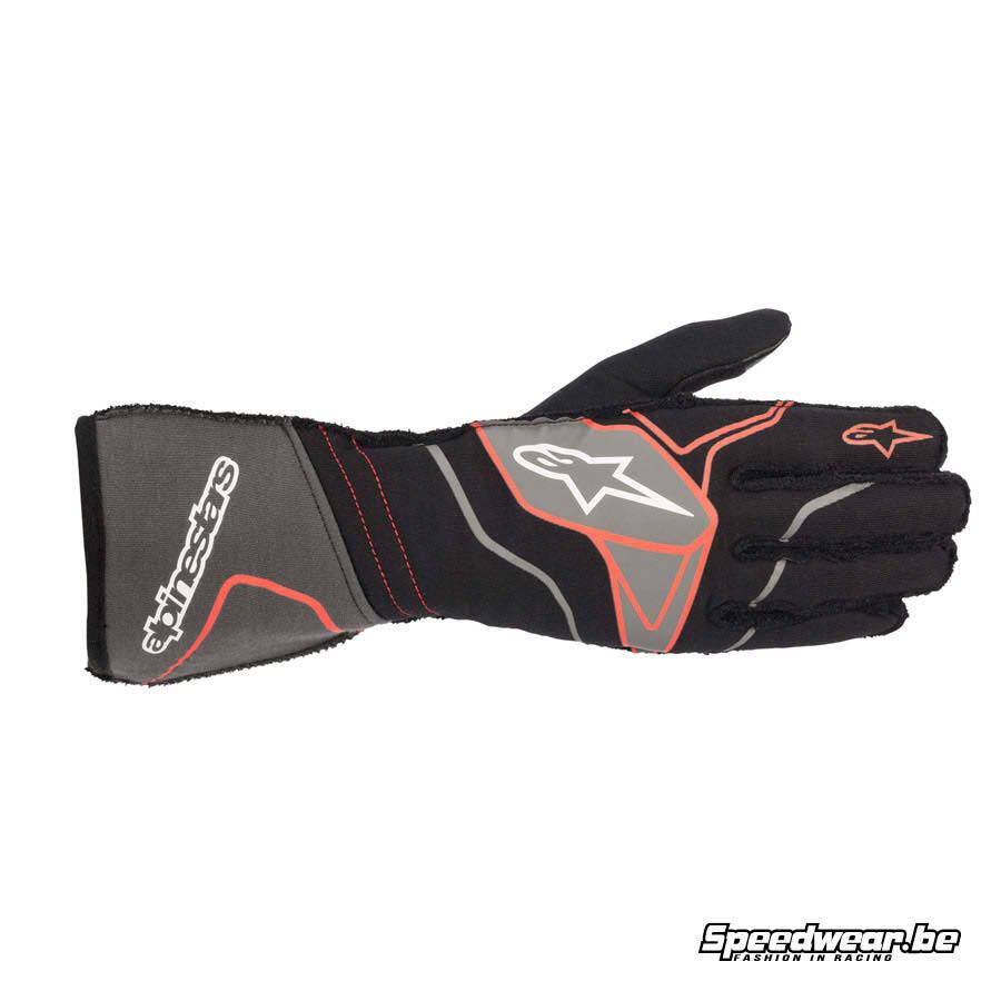 Alpinestars Tech 1 ZX V2 handschoen autorace - Zwart Anthraciet Rood