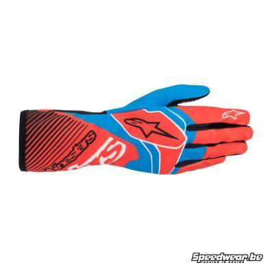 Alpinestars Tech 1-K Race V2 karthandschoen - Rood Fluo blauw