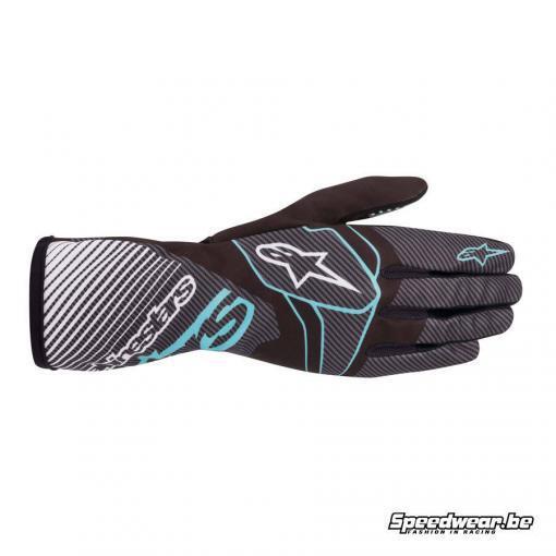 Alpinestars Tech 1-K Race S V2 kinder karthandschoen - Zwart Turquoise