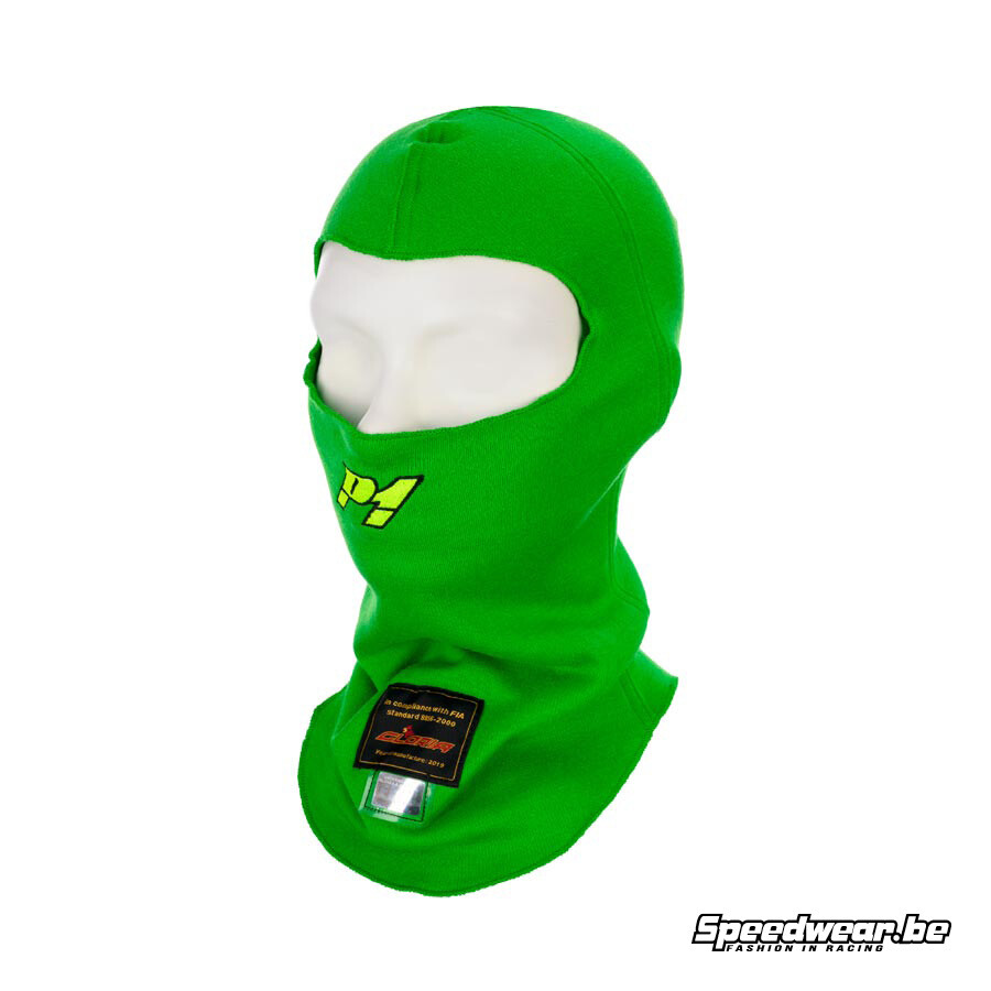 P1 racewear Helmet Balaclava aramid - Fluo Groen