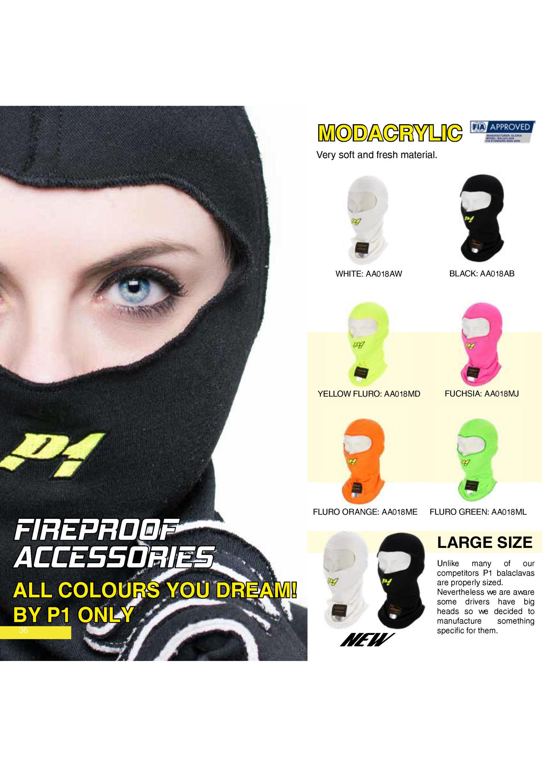 P1 Advanced Racewear Modacrylic Balaclava Racing