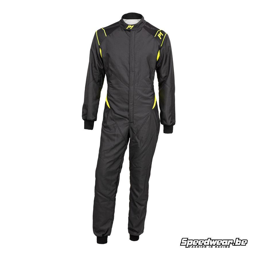 P1 Racewear type FORMULA FIA gekeurd overall - Zwart Anthraciet Fluo Geel