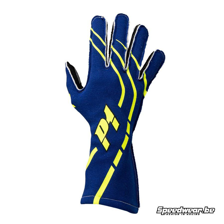 P1 Advanced Racewear sportieve handschoen voor racing blauw
