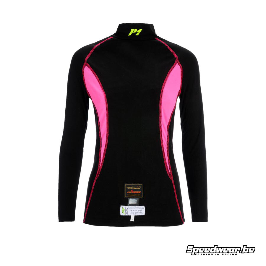 P1 Advanced Racewear voor dames Nomex T-shirt Zwart Fuchsia
