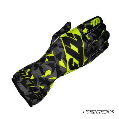Minus 273 Camo Kartsporthandschoen - Zwart Grijs Fluorescerend geel