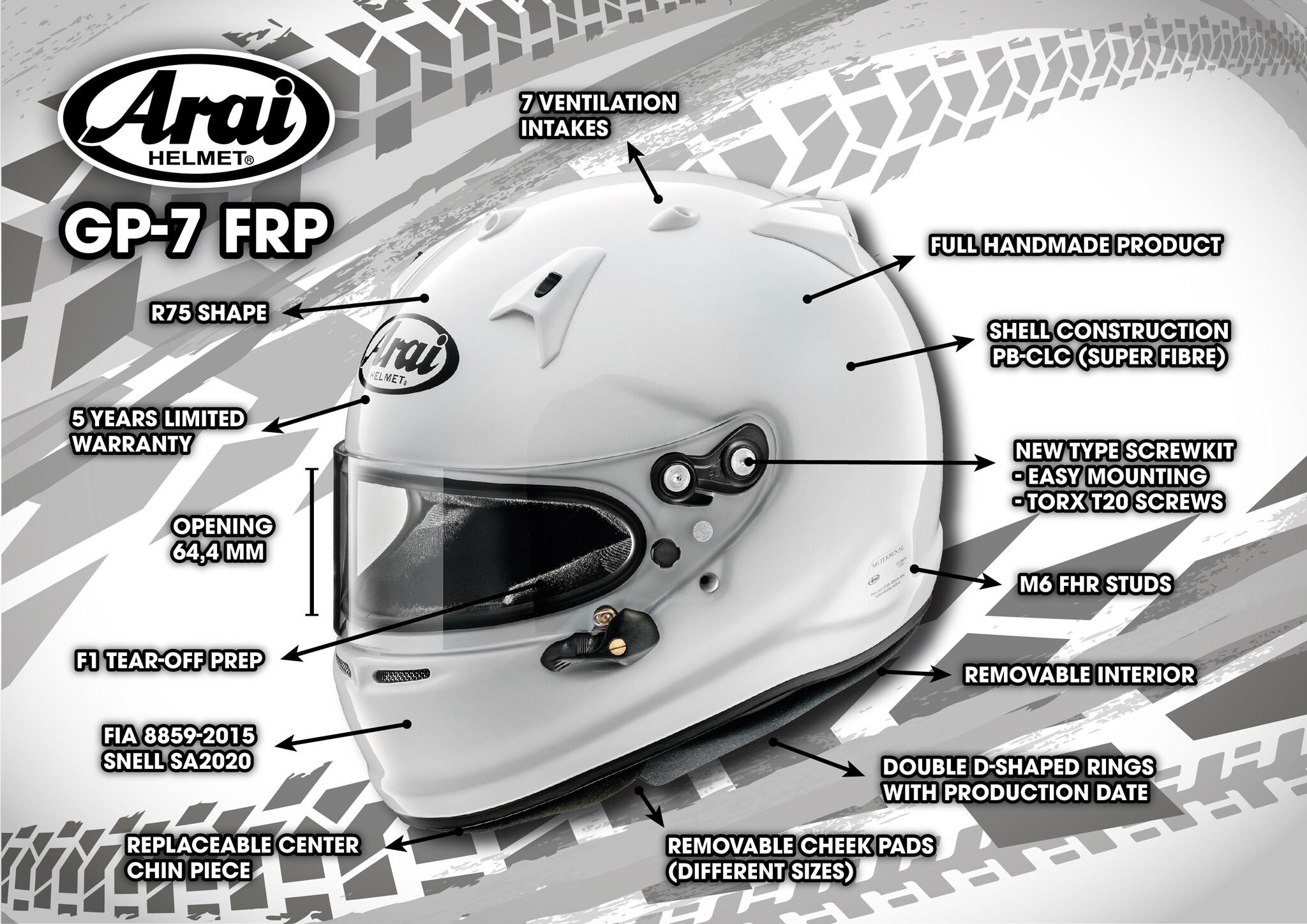 Arai GP7 FRP autosporthelm Kenmerken