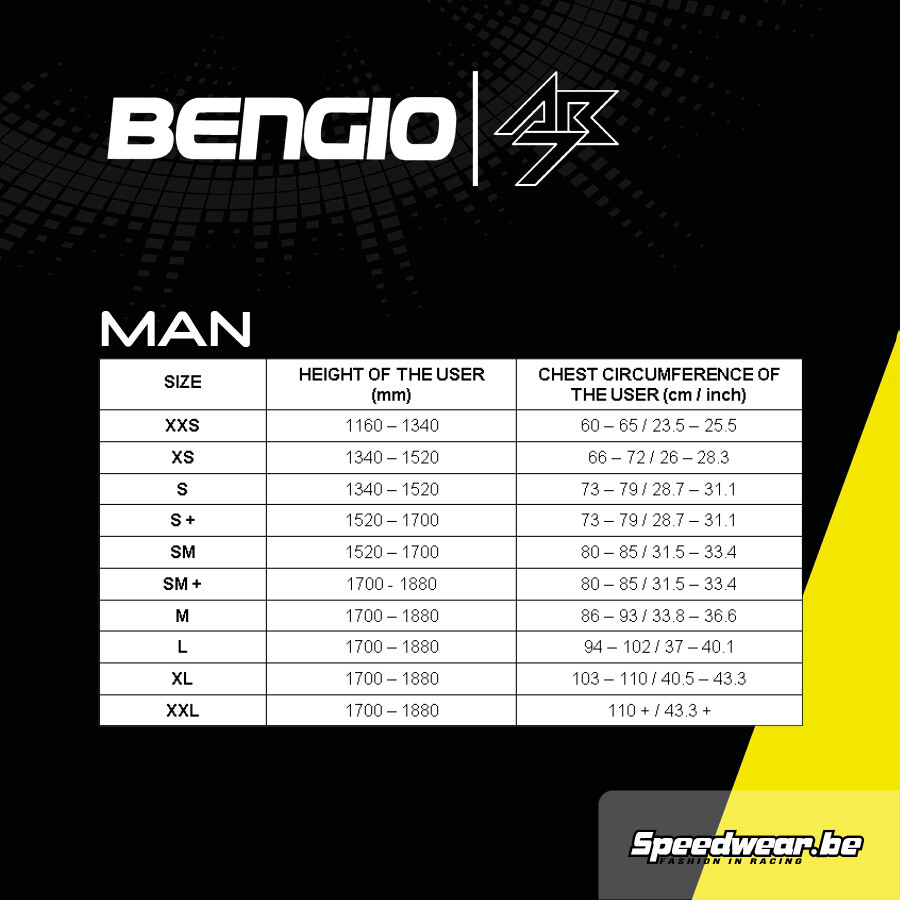 Bengio-AB73 Maattabel Man