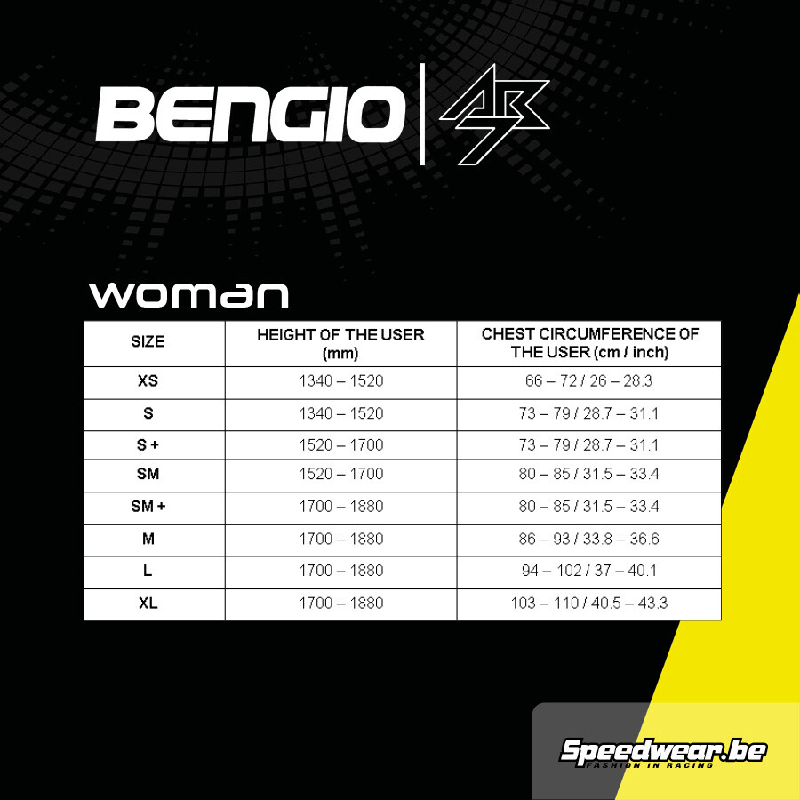 Bengio AB7 ribprotector VROUW FIA 8870-2018 keuring Maattabel