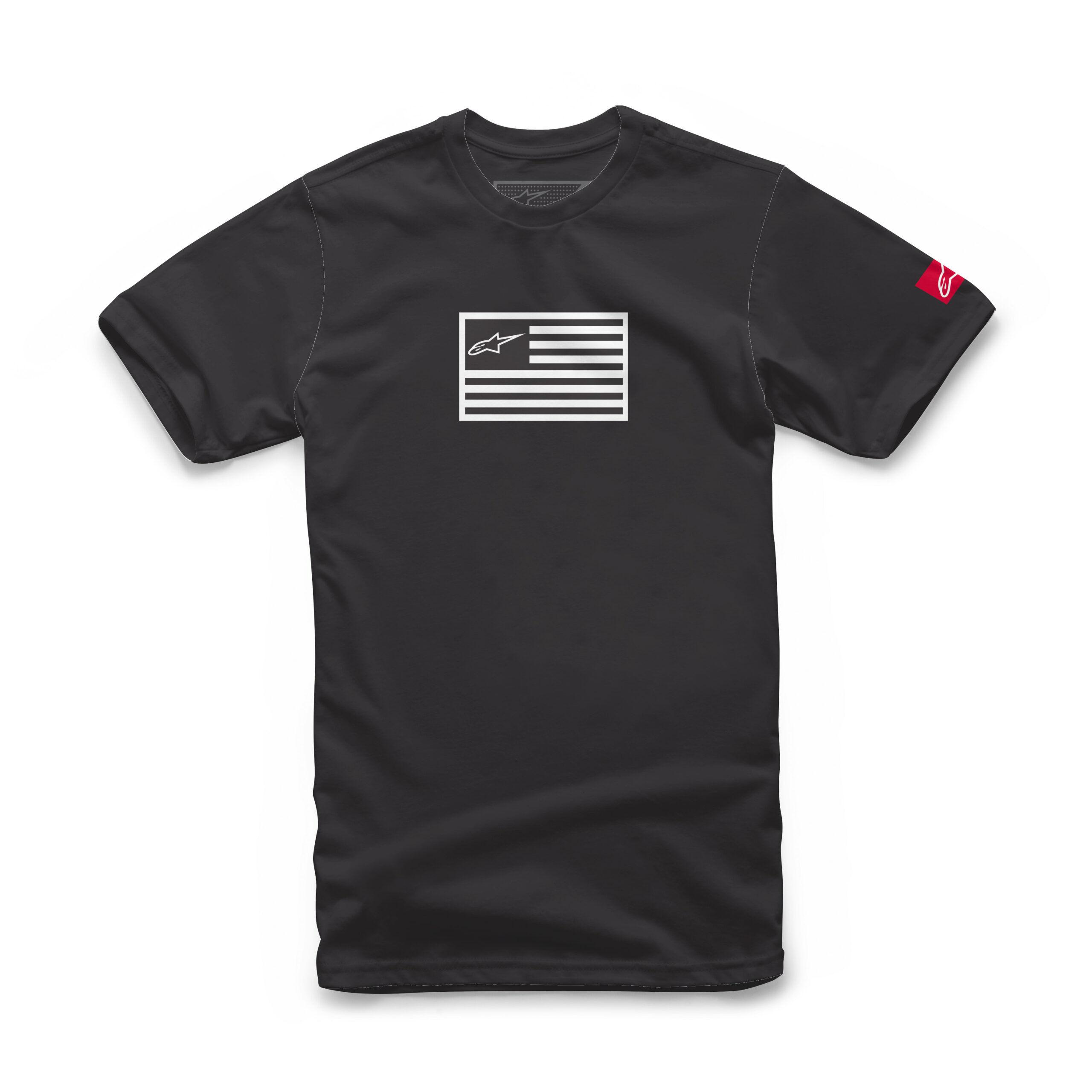 Alpinestars Vlag mannen T-shirt zwart wit