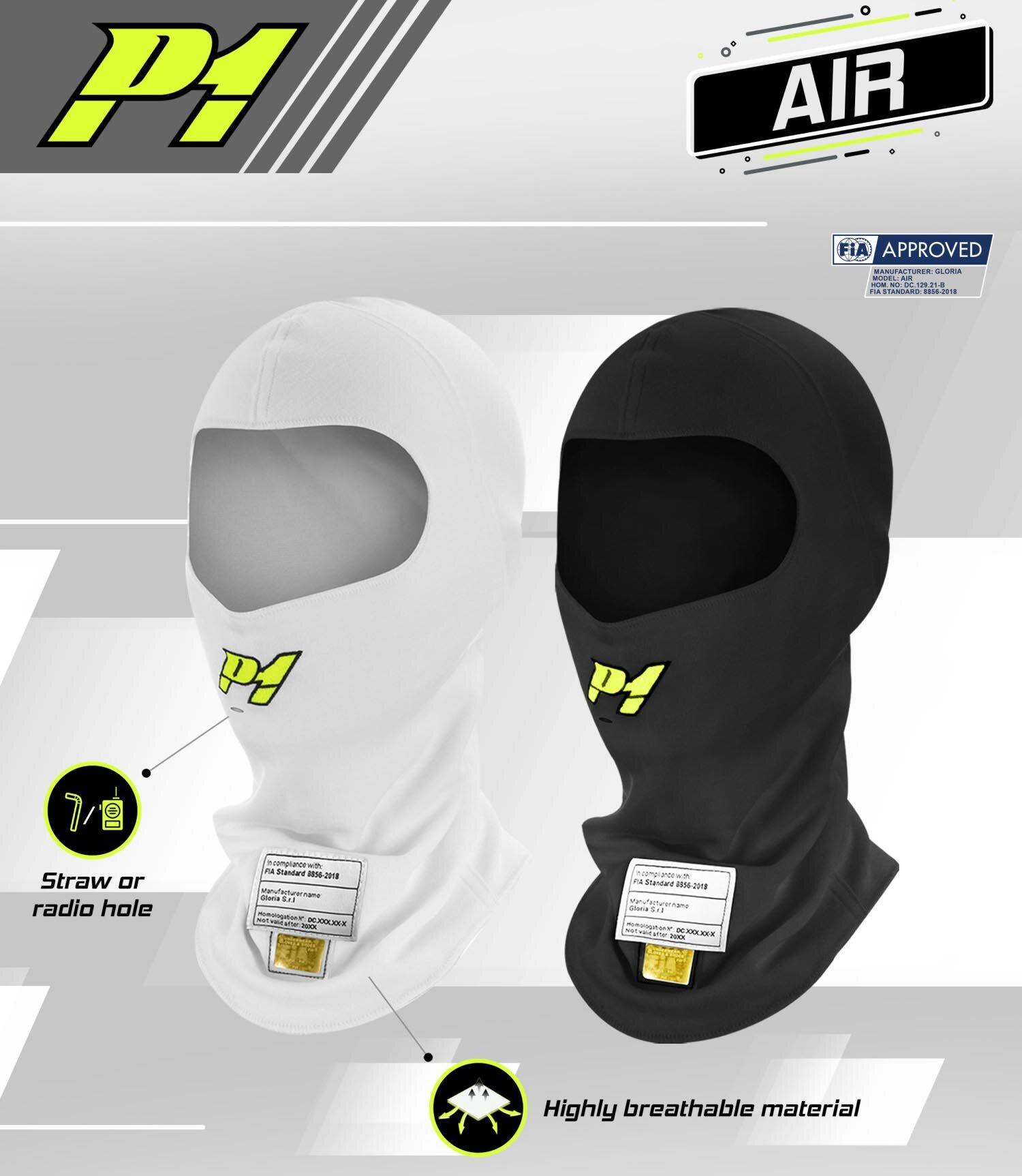 P1 Advanced Racewear Nomex Balaclava AIR wit