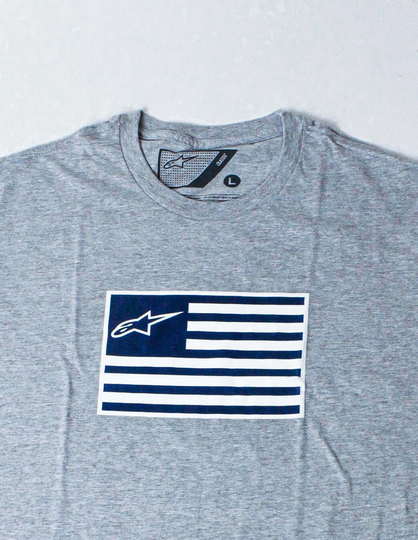 Alpinestars Vlag wit blauw – grijze T-shirt voor mannen